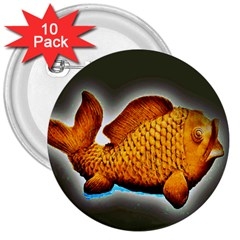 Goldfish 3  Button (10 Pack)
