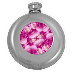 Beauty Pink Abstract Design Hip Flask (Round)
