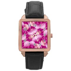 Beauty Pink Abstract Design Rose Gold Leather Watch