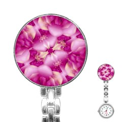 Beauty Pink Abstract Design Stainless Steel Nurses Watch