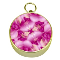 Beauty Pink Abstract Design Gold Compass
