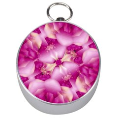 Beauty Pink Abstract Design Silver Compass