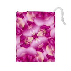 Beauty Pink Abstract Design Drawstring Pouch (large)