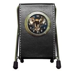 Golden Eagle Stationery Holder Clock