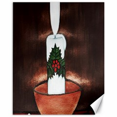 Candle And Mistletoe Canvas 11  X 14  (unframed)