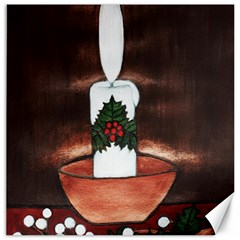 Candle And Mistletoe Canvas 20  X 20  (unframed)