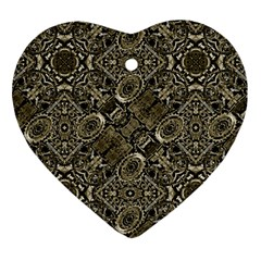 Steam Punk Pattern Print Heart Ornament (Two Sides)