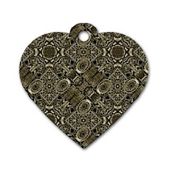 Steam Punk Pattern Print Dog Tag Heart (One Sided)