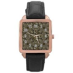 Steam Punk Pattern Print Rose Gold Leather Watch