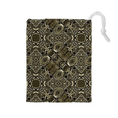 Steam Punk Pattern Print Drawstring Pouch (Large)