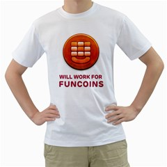 Will Work For Funcoins Men s Two-sided T-shirt (White)