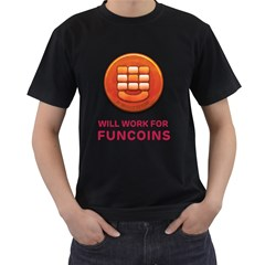 Will Work For Funcoins Men s Two Sided T-shirt (Black)