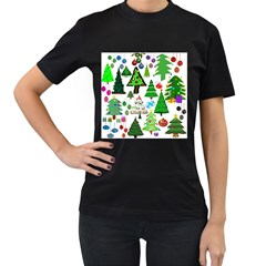 Oh Christmas Tree Women s Two Sided T Shirt (black)