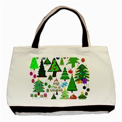 Oh Christmas Tree Twin Sided Black Tote Bag