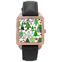 Oh Christmas Tree Rose Gold Leather Watch