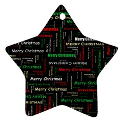 Merry Christmas Typography Art Star Ornament