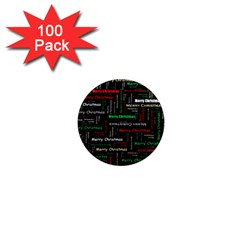Merry Christmas Typography Art 1  Mini Button Magnet (100 pack)
