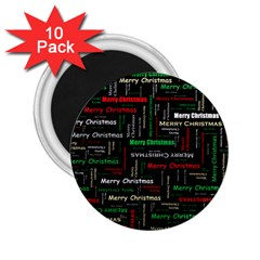 Merry Christmas Typography Art 2 25  Button Magnet (10 Pack)