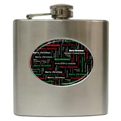 Merry Christmas Typography Art Hip Flask