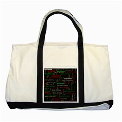 Merry Christmas Typography Art Two Toned Tote Bag