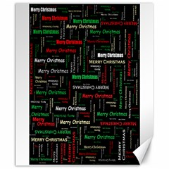 Merry Christmas Typography Art Canvas 20  x 24  (Unframed)