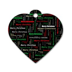 Merry Christmas Typography Art Dog Tag Heart (one Sided)