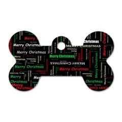 Merry Christmas Typography Art Dog Tag Bone (Two Sided)