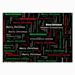 Merry Christmas Typography Art Glasses Cloth (large, Two Sided)
