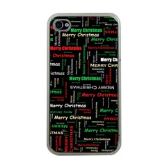Merry Christmas Typography Art Apple iPhone 4 Case (Clear)