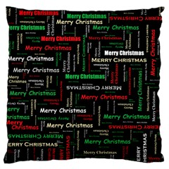 Merry Christmas Typography Art Large Cushion Case (two Sided)