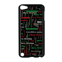 Merry Christmas Typography Art Apple iPod Touch 5 Case (Black)