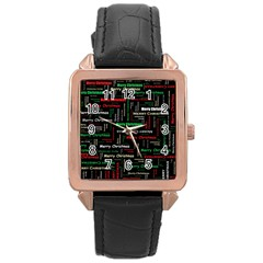 Merry Christmas Typography Art Rose Gold Leather Watch