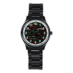 Merry Christmas Typography Art Sport Metal Watch (Black)
