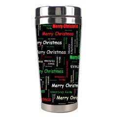 Merry Christmas Typography Art Stainless Steel Travel Tumbler