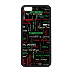 Merry Christmas Typography Art Apple iPhone 5C Seamless Case (Black)