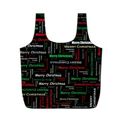 Merry Christmas Typography Art Reusable Bag (M)