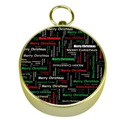 Merry Christmas Typography Art Gold Compass