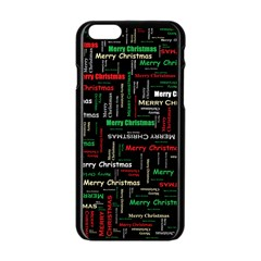 Merry Christmas Typography Art Apple Iphone 6 Black Enamel Case