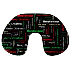 Merry Christmas Typography Art Travel Neck Pillow