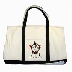 Alien Robot Hand Draw Illustration Two Toned Tote Bag
