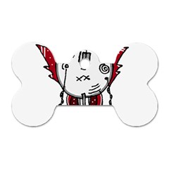Alien Robot Hand Draw Illustration Dog Tag Bone (two Sided)