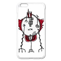 Alien Robot Hand Draw Illustration Apple iPhone 6 Plus Enamel White Case