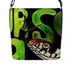 GRASS SNAKE Flap Closure Messenger Bag (Large)