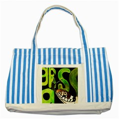 GRASS SNAKE Blue Striped Tote Bag