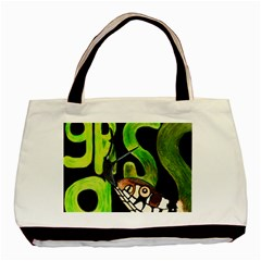 GRASS SNAKE Twin-sided Black Tote Bag