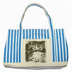 Kitten Blue Striped Tote Bag