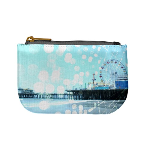 Turquoise Santa Monica Pier Spiderweb Coin Change Purse