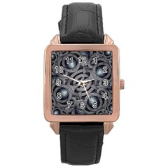 Mystic Arabesque Rose Gold Leather Watch