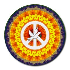 Psychedelic Peace Dove Mandala 8  Mouse Pad (round)