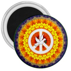 Psychedelic Peace Dove Mandala 3  Button Magnet